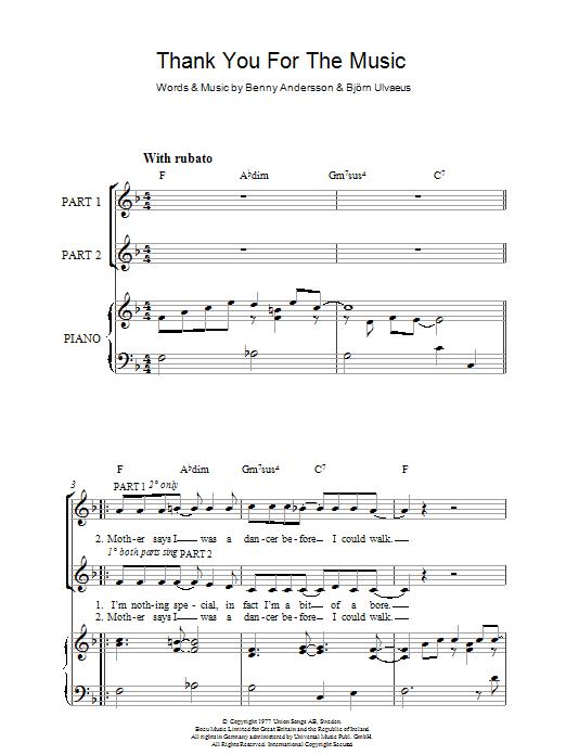 Thank You For The Music (arr. Rick Hein) (2-Part Choir)