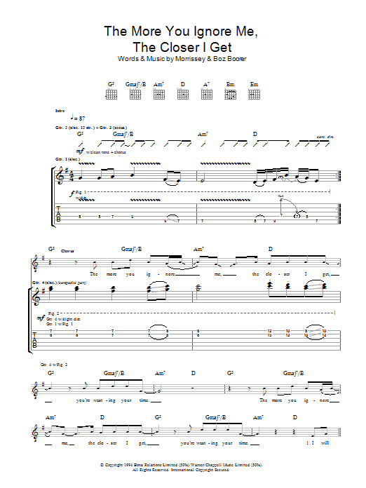 The More You Ignore Me, The Closer I Get (Guitar Tab)