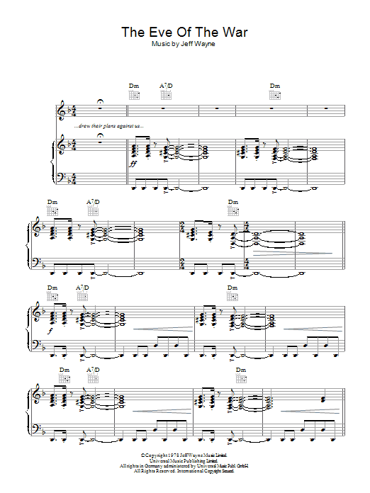 The Eve Of The War (from War Of The Worlds) (Piano, Vocal & Guitar)