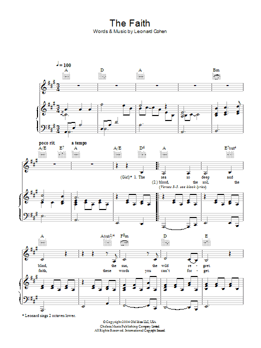 The Faith (Piano, Vocal & Guitar)