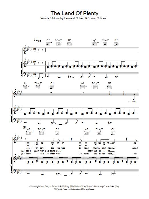 The Land Of Plenty (Piano, Vocal & Guitar)