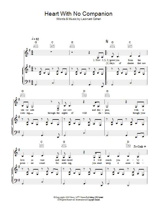 Heart With No Companion Sheet Music