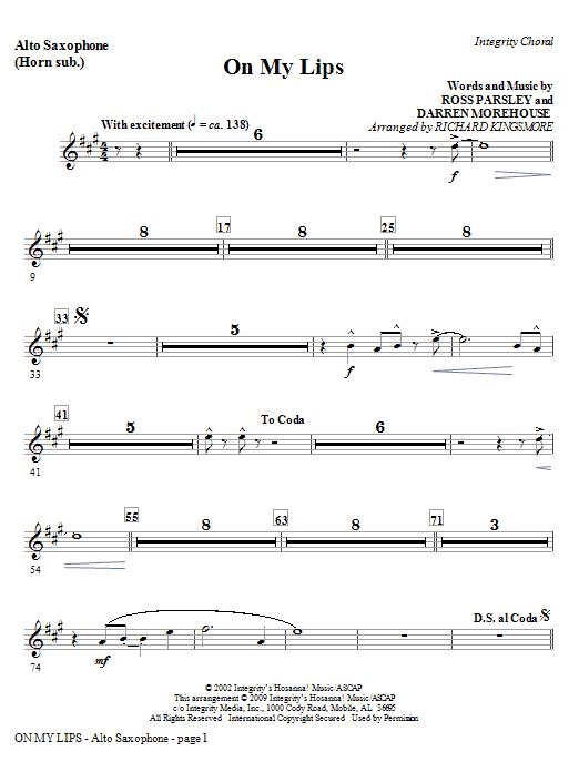 On My Lips - Tenor Sax (Trombone 2 sub.) Sheet Music
