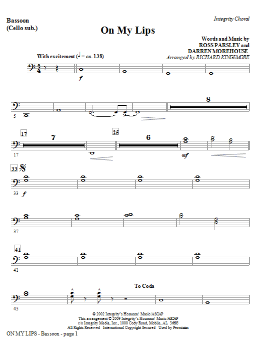 On My Lips - Keyboard String Reduction Sheet Music