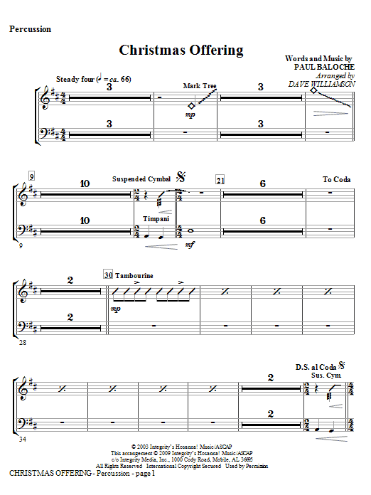 Christmas Offering - Percussion Sheet Music