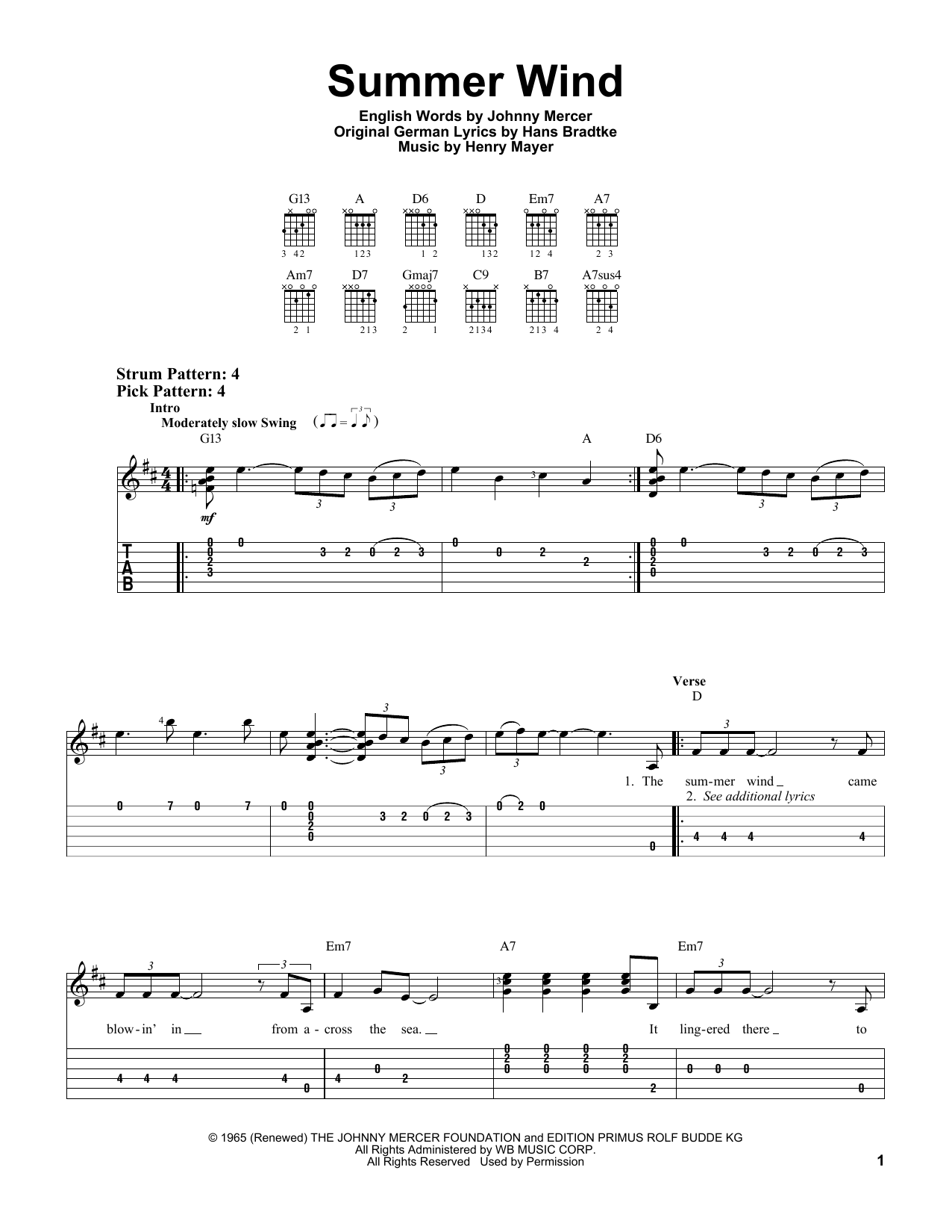 Tablature guitare Summer Wind de Frank Sinatra - Tablature guitare facile