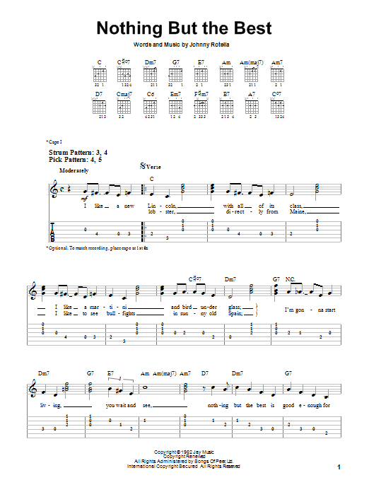 Tablature guitare Nothing But The Best de Frank Sinatra - Tablature guitare facile