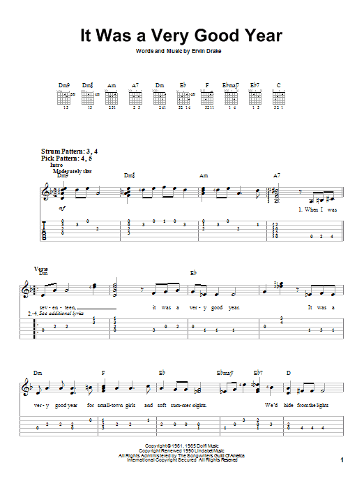 Tablature guitare It Was A Very Good Year de Frank Sinatra - Tablature guitare facile