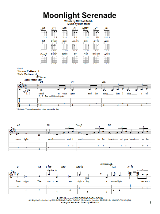 Tablature guitare Moonlight Serenade de Frank Sinatra - Tablature guitare facile