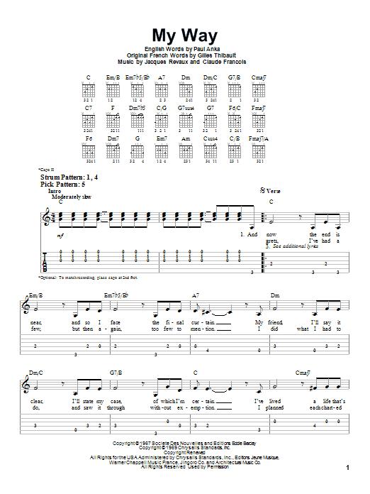 Tablature guitare My Way de Frank Sinatra - Tablature guitare facile