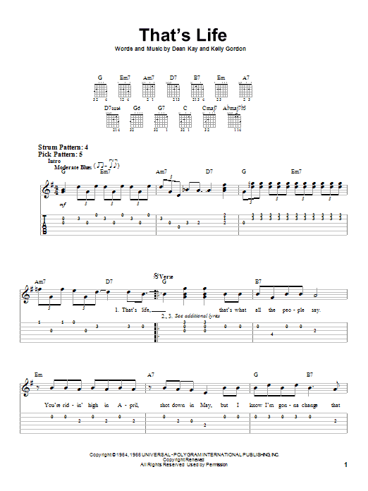 That's Life (Easy Guitar Tab)