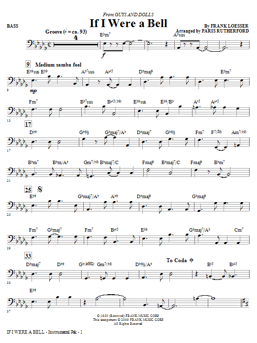 If I Were A Bell (from Guys And Dolls) - Bass (Choir Instrumental Pak)