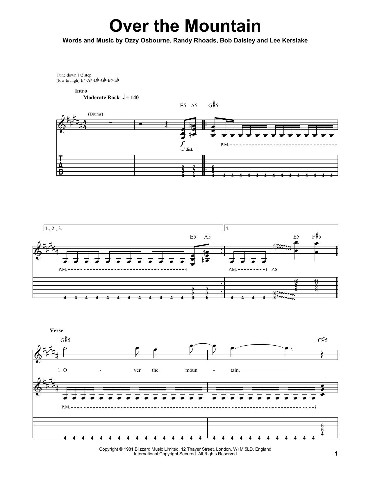 Over The Mountain (Guitar Tab (Single Guitar))