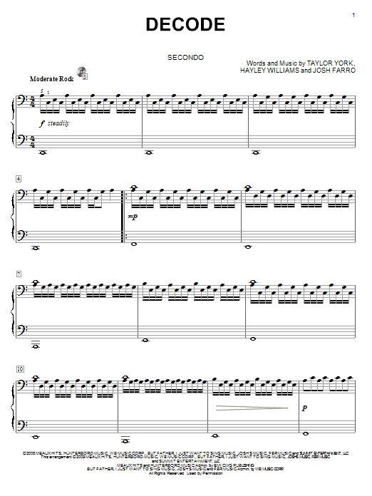 Partition piano Decode de Paramore - 4 mains