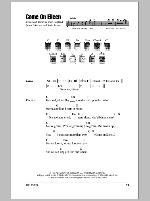 Come On Eileen by Dexy\'s Midnight Runners - Guitar Chords/Lyrics ...