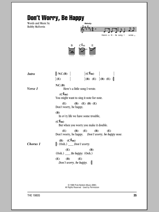 Don't Worry, Be Happy Sheet Music