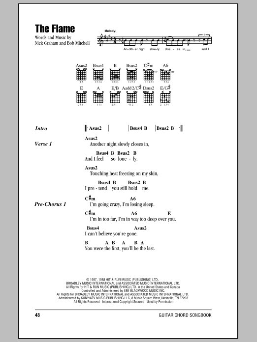 The Flame Sheet Music By Cheap Trick Lyrics Chords 81415