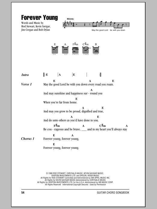 Forever Young by Rod Stewart - Guitar Chords/Lyrics - Guitar Instructor