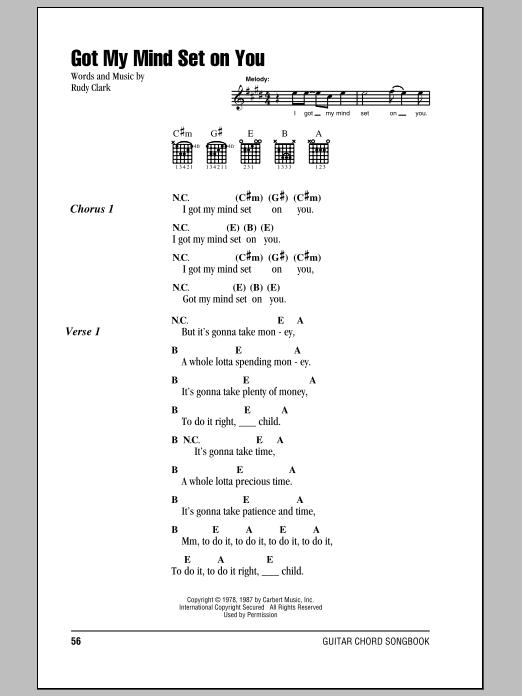 Got My Mind Set On You Sheet Music By George Harrison Lyrics