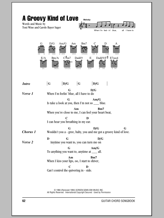 A Groovy Kind Of Love by The Mindbenders - Guitar Chords/Lyrics ...