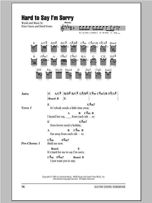 Guitar guitar chords sorry : Hard To Say I'm Sorry by Chicago - Guitar Chords/Lyrics - Guitar ...