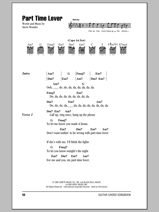 Part Time Lover Sheet Music
