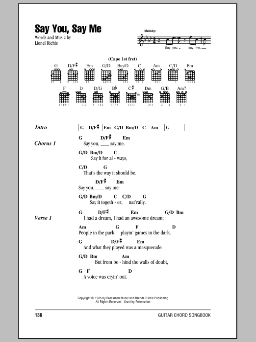 Say You, Say Me by Lionel Richie - Guitar Chords/Lyrics - Guitar ...