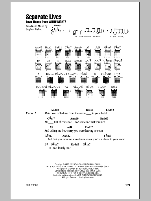 Separate Lives (Guitar Chords/Lyrics)