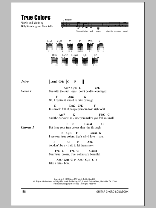 True Colors Sheet Music Cyndi Lauper Lyrics Chords