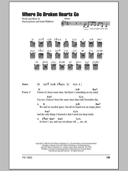 Where Do Broken Hearts Go Sheet Music Whitney Houston Lyrics