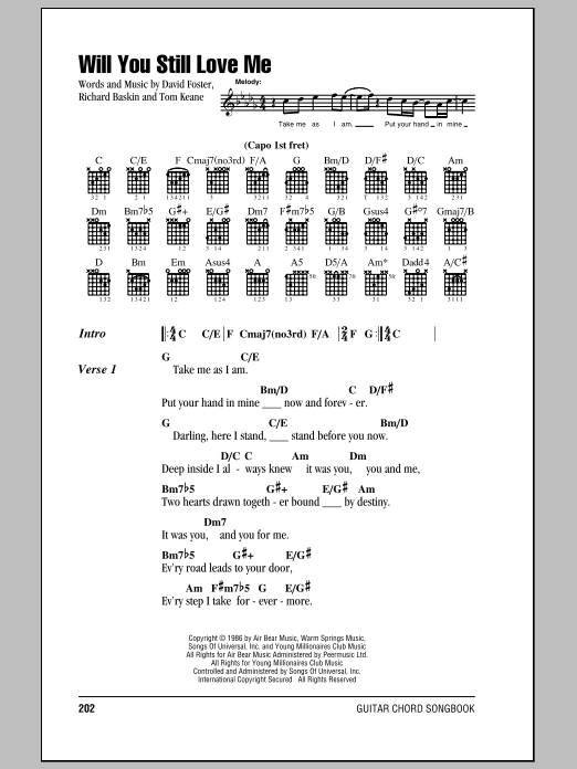 Will You Still Love Me Sheet Music By Chicago Lyrics Chords 81437