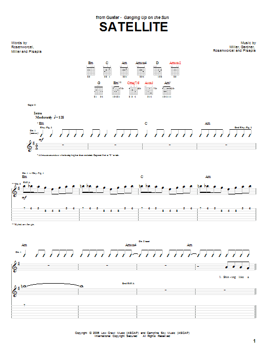 Tablature guitare Satellite de Guster - Tablature Guitare