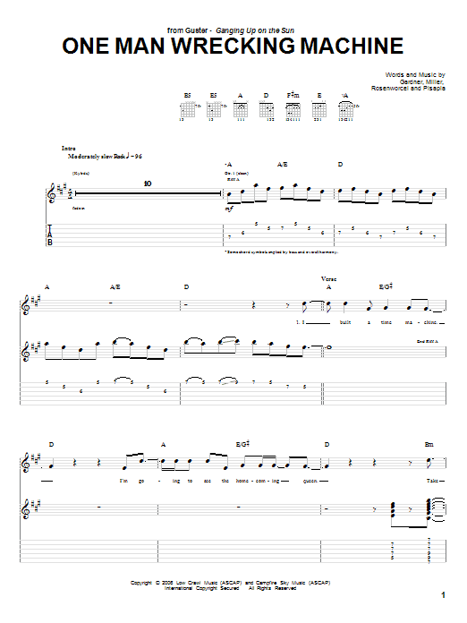 Tablature guitare One Man Wrecking Machine de Guster - Tablature Guitare