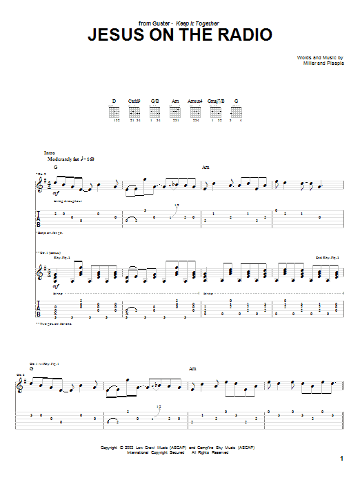 Jesus On The Radio (Guitar Tab)