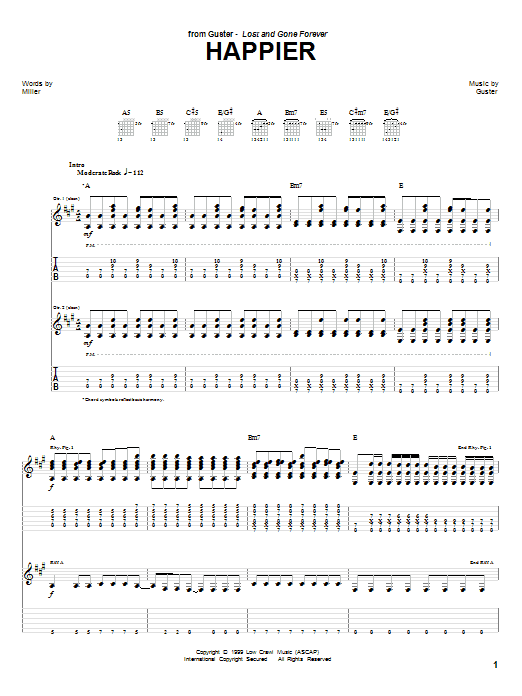Tablature guitare Happier de Guster - Tablature Guitare