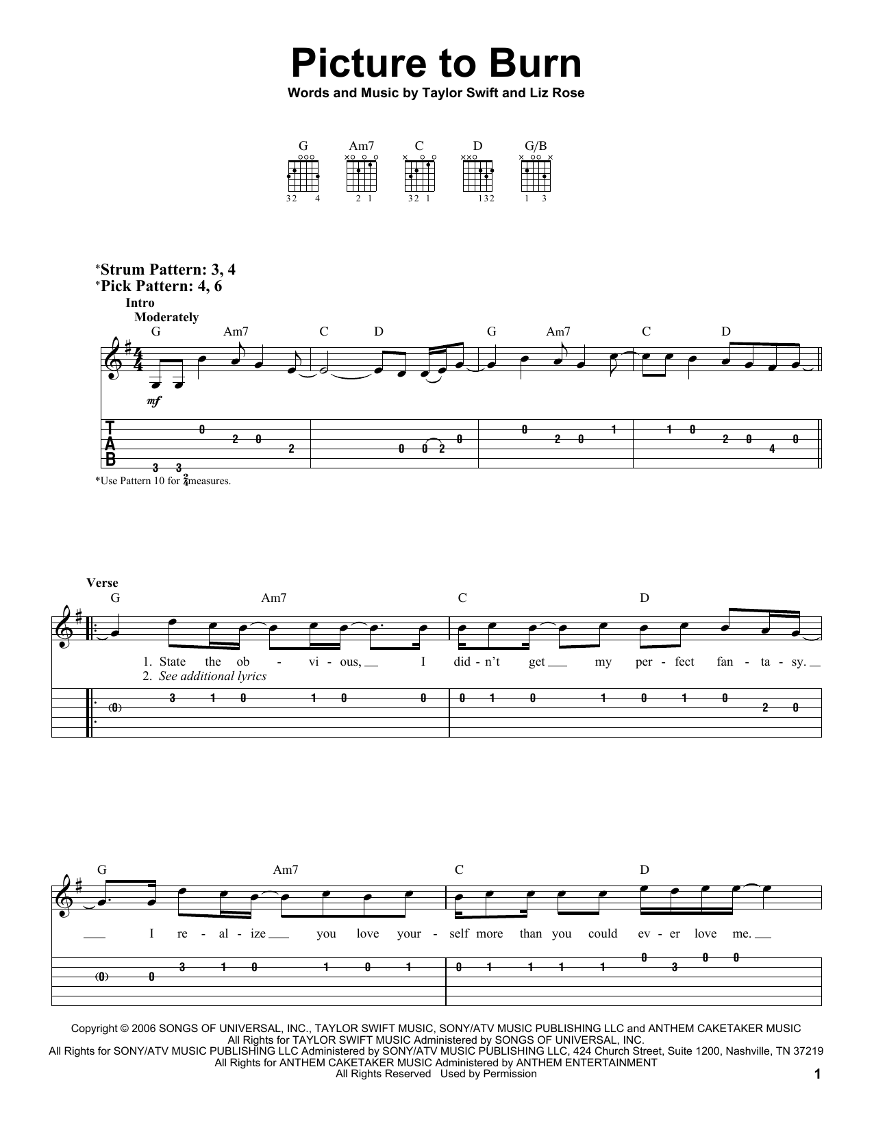 picture to burn by taylor swift easy guitar tab guitar instructor. Black Bedroom Furniture Sets. Home Design Ideas