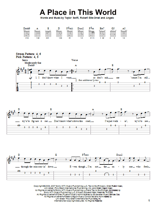 Tablature guitare A Place In This World de Taylor Swift - Autre