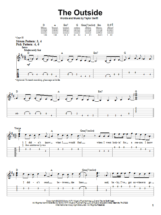 Tablature guitare The Outside de Taylor Swift - Tablature guitare facile