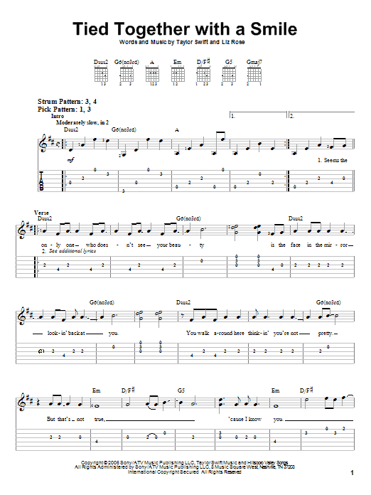 Tablature guitare Tied Together With A Smile de Taylor Swift - Tablature guitare facile