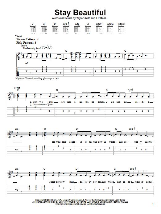 Tablature guitare Stay Beautiful de Taylor Swift - Tablature guitare facile