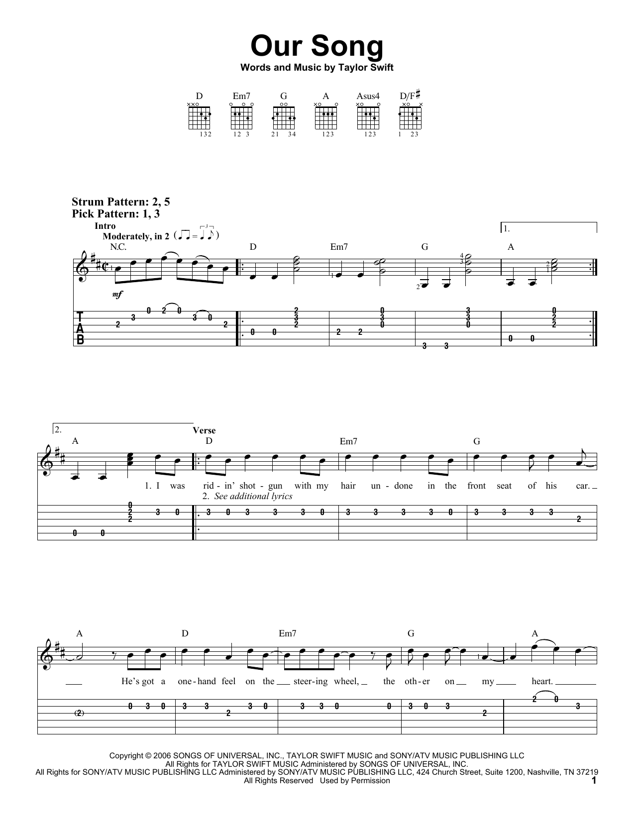 Guitar guitar tabs easy : Our Song sheet music by Taylor Swift (Easy Guitar Tab – 70650)