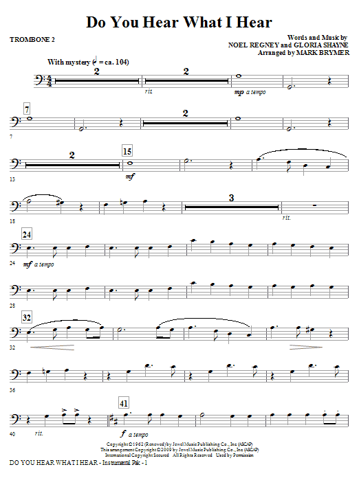 Do You Hear What I Hear? - Trombone 2 (Choir Instrumental Pak)