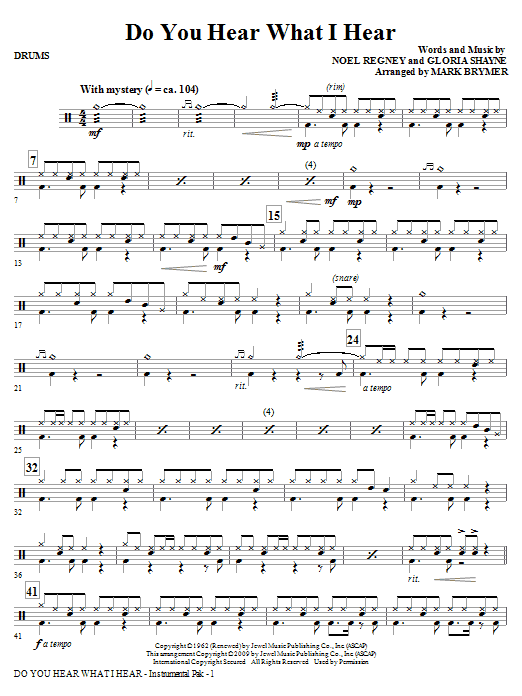 Do You Hear What I Hear? - Drums (Choir Instrumental Pak)