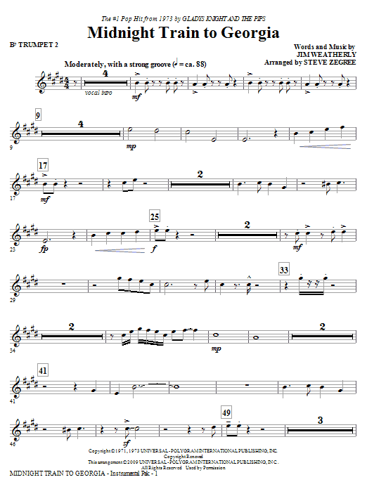 Midnight Train To Georgia - Bb Trumpet 2 Sheet Music