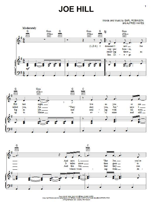 Partition piano Joe Hill de Joan Baez - Piano Voix Guitare (Mélodie Main Droite)