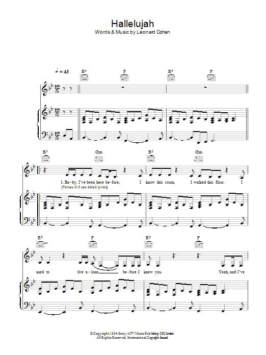 Hallelujah (live version) : Sheet Music Direct