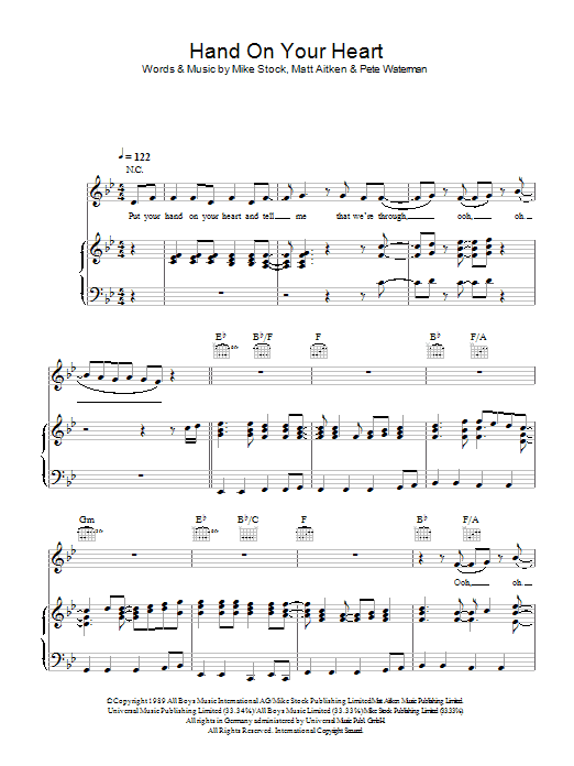Hand On Your Heart Sheet Music