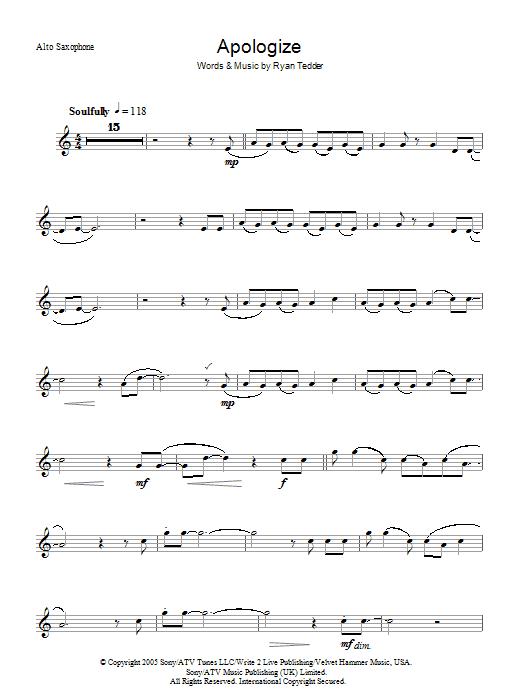Apologize Sheet Music Onerepublic Alto Saxophone