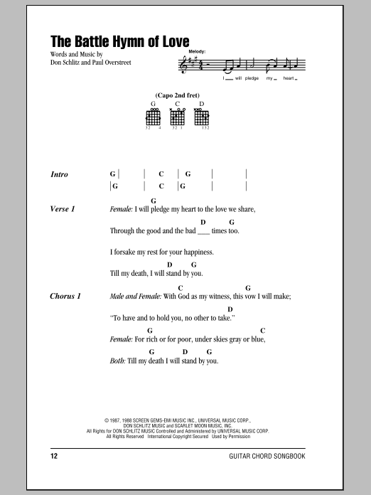 The Battle Hymn Of Love Sheet Music