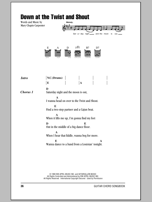 Down At The Twist And Shout Sheet Music